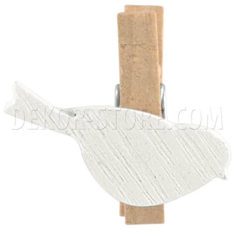 scotton spa scotton spa molletta con uccellino bianco in legno- 35 mm