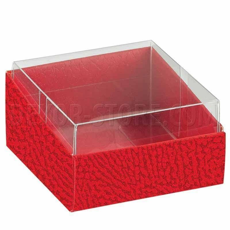 scotton spa scotton spa scatolina 60x60x30 mm portaconfetti duo - pelle rossa