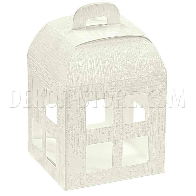 scotton spa lanterna porta confetti tela bianco con interno trasparente 80x80x105 mm - 5 pz