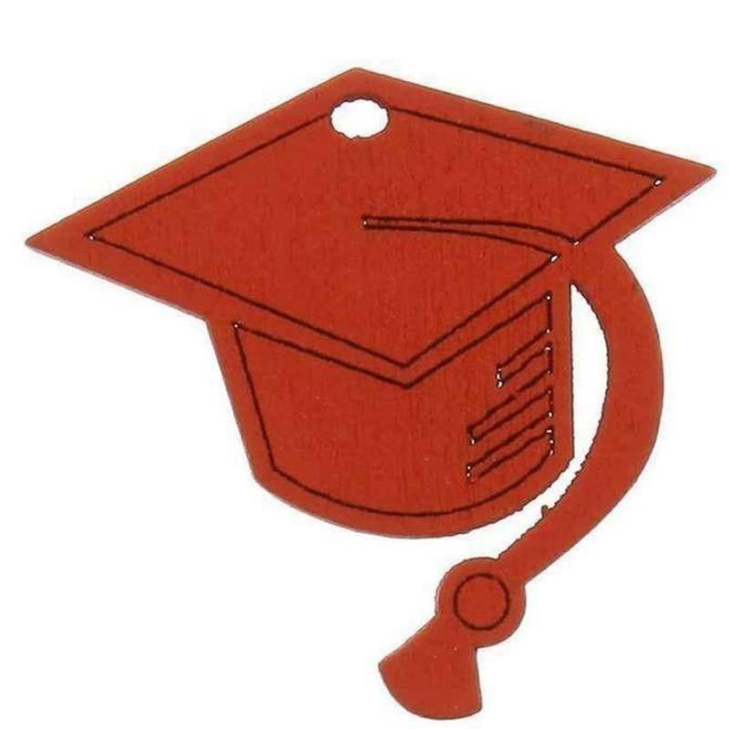 applicazione 3,5 x 3,5cm laurea  tocco colore rosso in legno