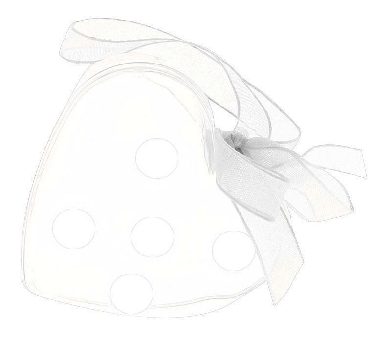 portaconfetti cuore in plexiglass d.7 con fiocco e pois - bianco