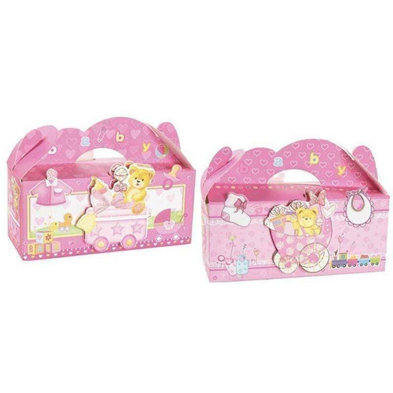 sud time valigetta in cartoncino rosa con orsi soggetti assortiti - 20 x 13 cm
