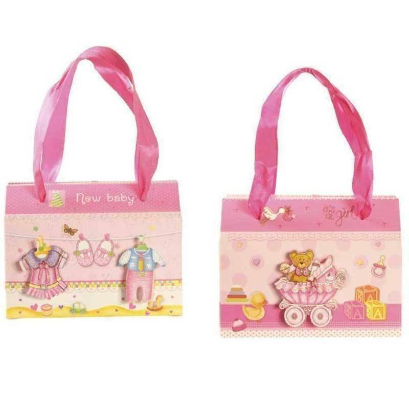 sud time valigetta in cartoncino rosa con manici soggetti assortiti - 15 x 11 cm