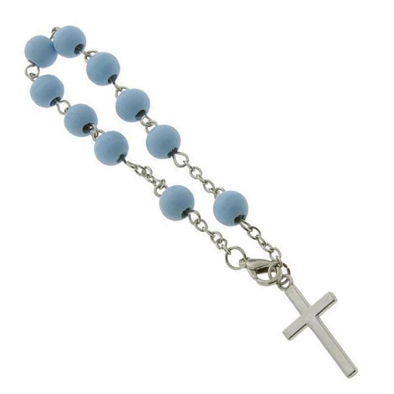 sud time bracciale rosario con sfere in legno azzurro