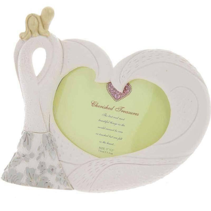 porta foto coppia sposi cuore 7x5 cm - resina avorio