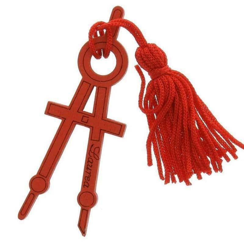 sud time sud time compasso in legno rosso con nappa - 2.5 x 7 cm