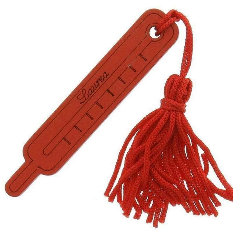 sud time sud time termometro grande in legno rosso con nappa - 1.3 x 7 cm