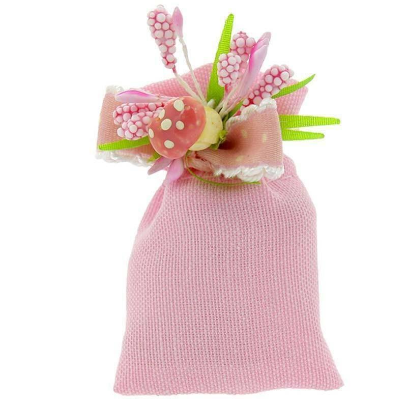 portaconfetto mignon 5x3 cm in cotone con tirante - rosa