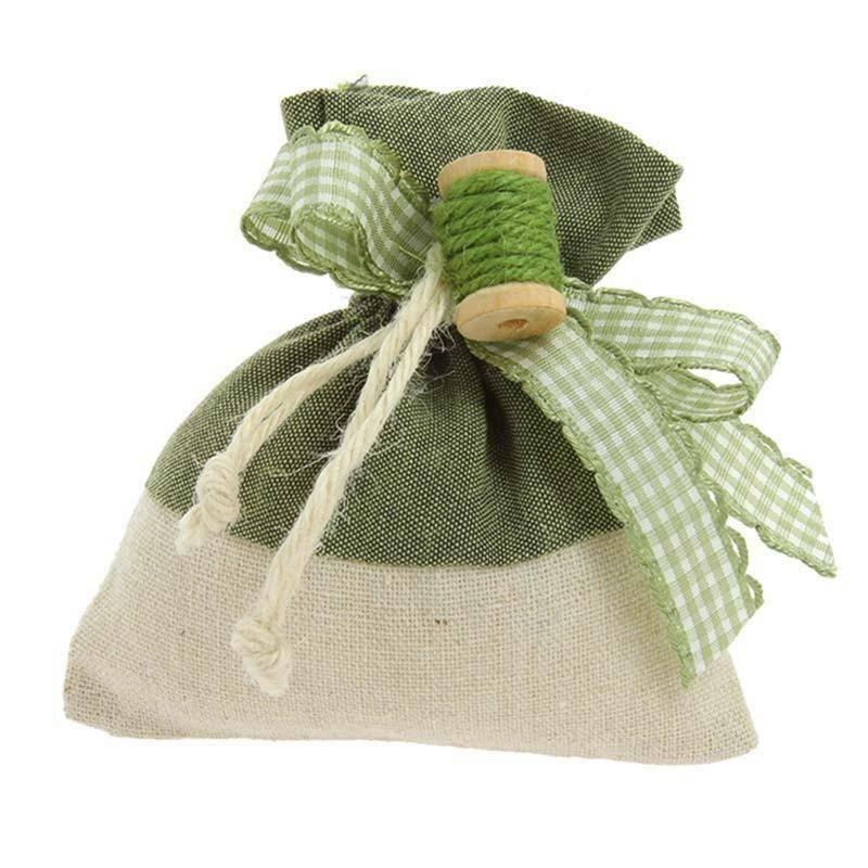 sud time sud time sacchetto portaconfetti in juta/cotone verde - 10 x 12 cm