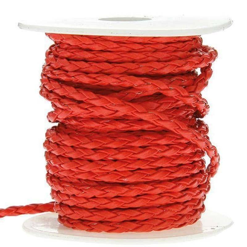 sud time sud time cordoncino treccia in pelle rosso - 4 x 10 mt
