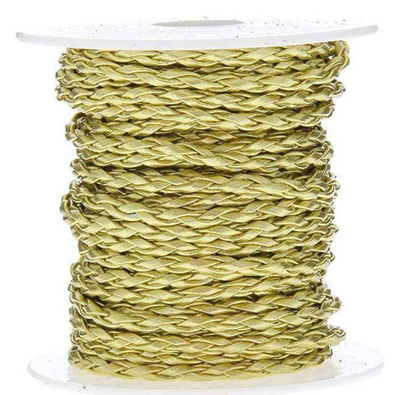 sud time sud time cordoncino treccia in pelle oro - 4 x 10 mt
