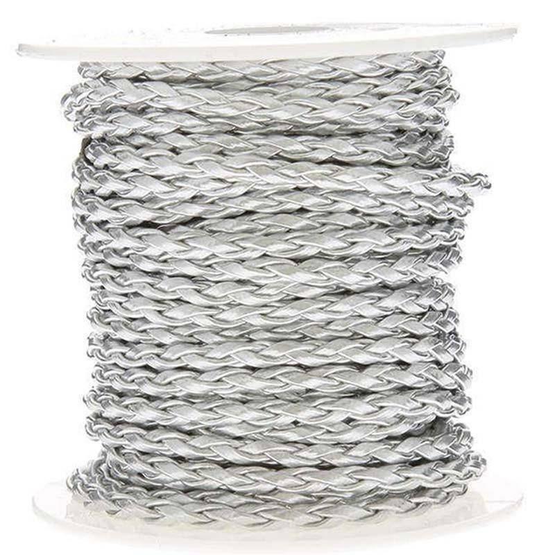 sud time sud time cordoncino treccia in pelle argento - 4 x 10 mt