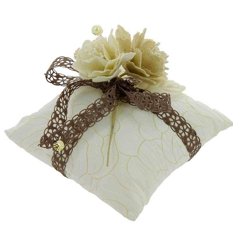 sud time cuscino portaconfetti in pelle bianco - 12 x 12 cm