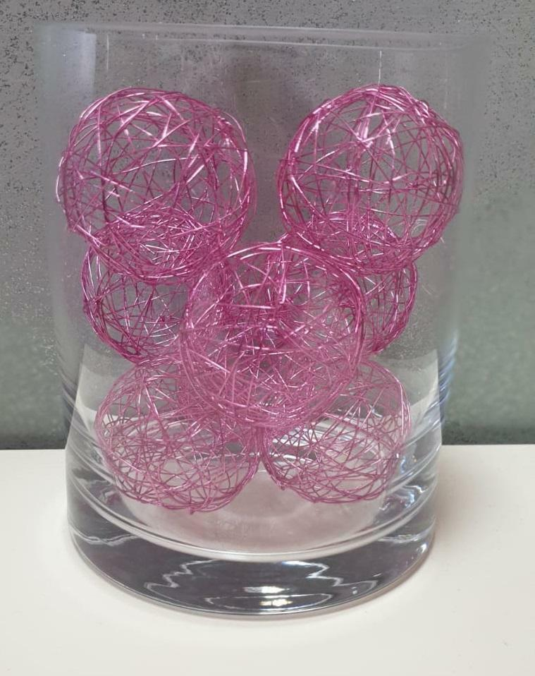 eurosand sfera filo metallico rosa 50 mm - 8 pz