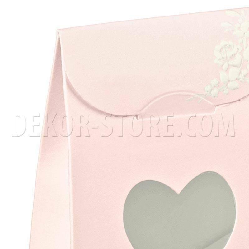 scotton spa sacchetto con finestra a cuore shabby chic 60x35x80 mm - 8 pz