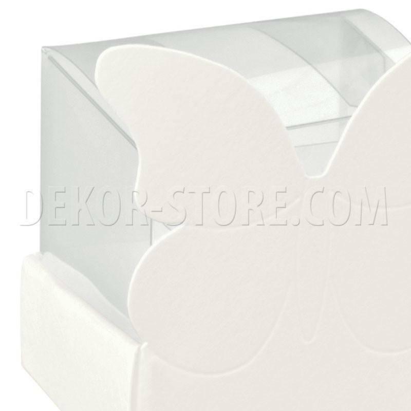 scotton spa cestello porta confetti con farfalla white 40x40x60 mm - 5 pz