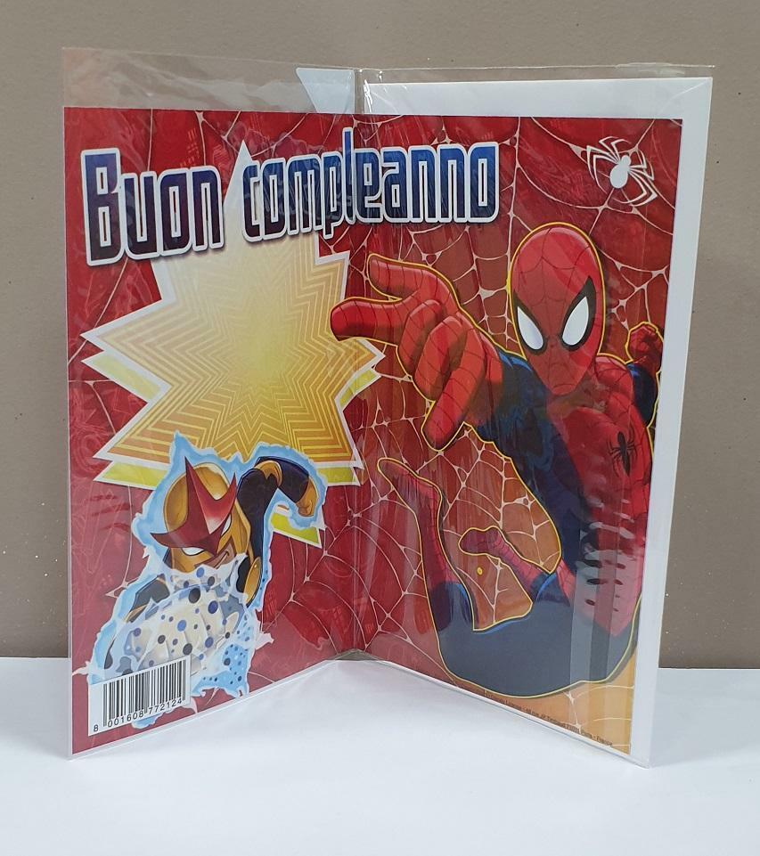 florio florio biglietto compleanno disney film spider-man con busta bianca