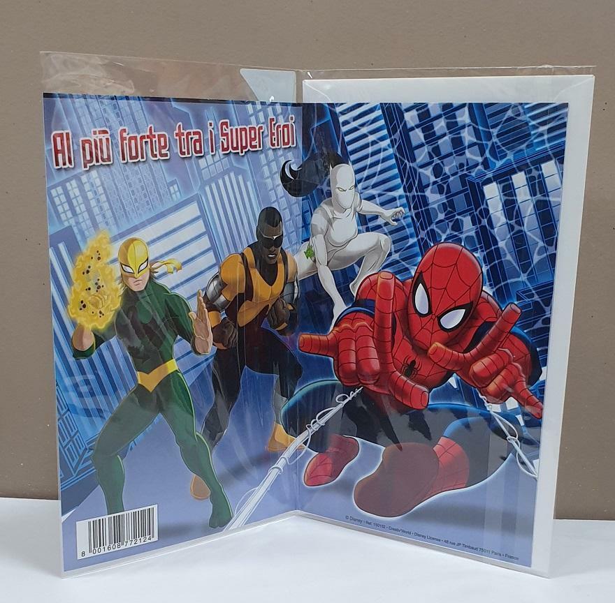 florio florio biglietto compleanno disney film ultimate spider-man e supereroi con busta bianca