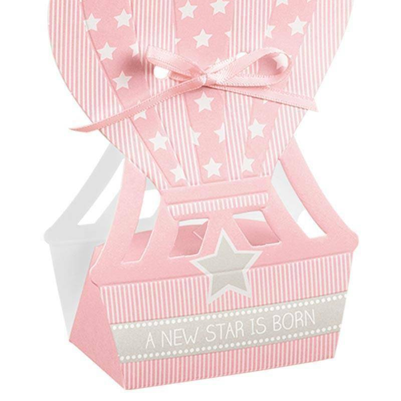 scotton spa mongolfiera porta confetti star rosa 60x40x145 mm - 5 pz