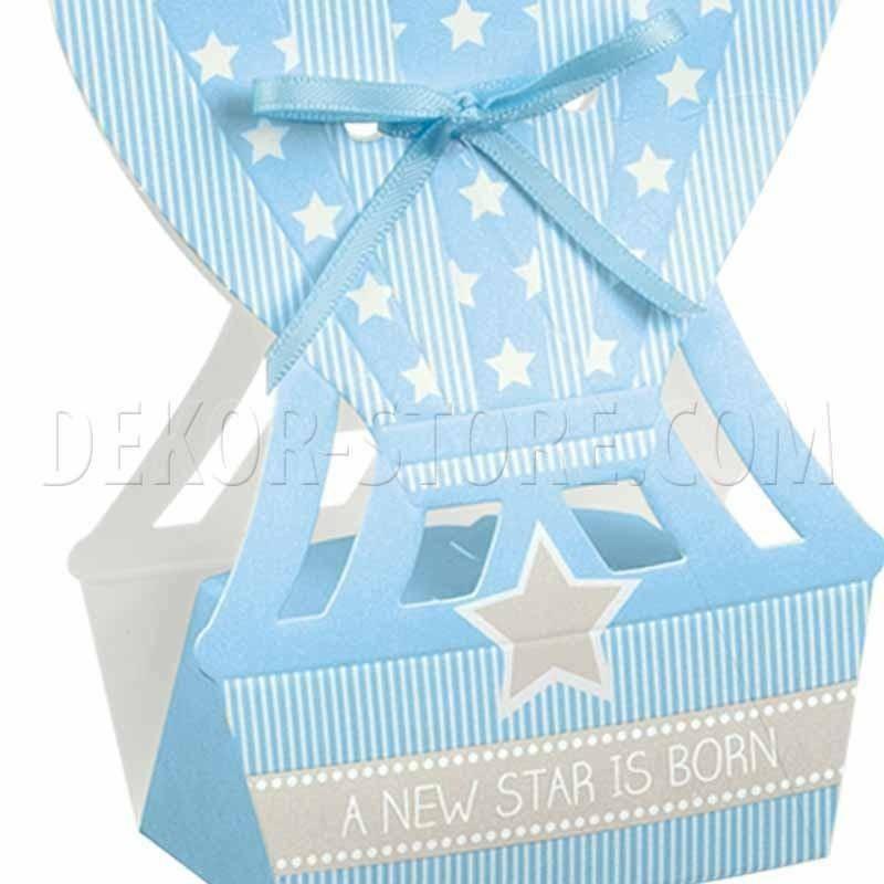 scotton spa mongolfiera porta confetti star azzurro 60x40x145 mm - 5 pz