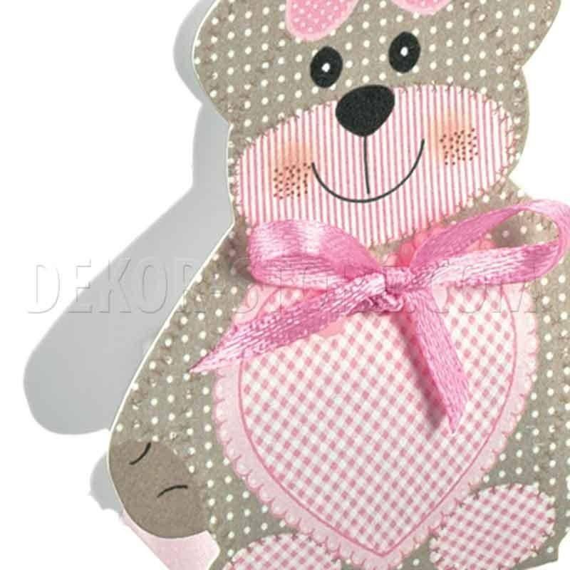 scotton spa scotton spa scatola 35x25x60mm a forma di orsacchiotto - teddy bear rosa