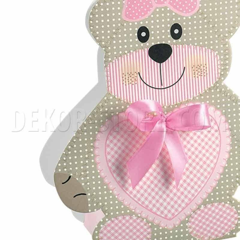 scotton spa scotton spa scatola 60x40x120 mm a forma di orsacchiotto - teddy bear rosa
