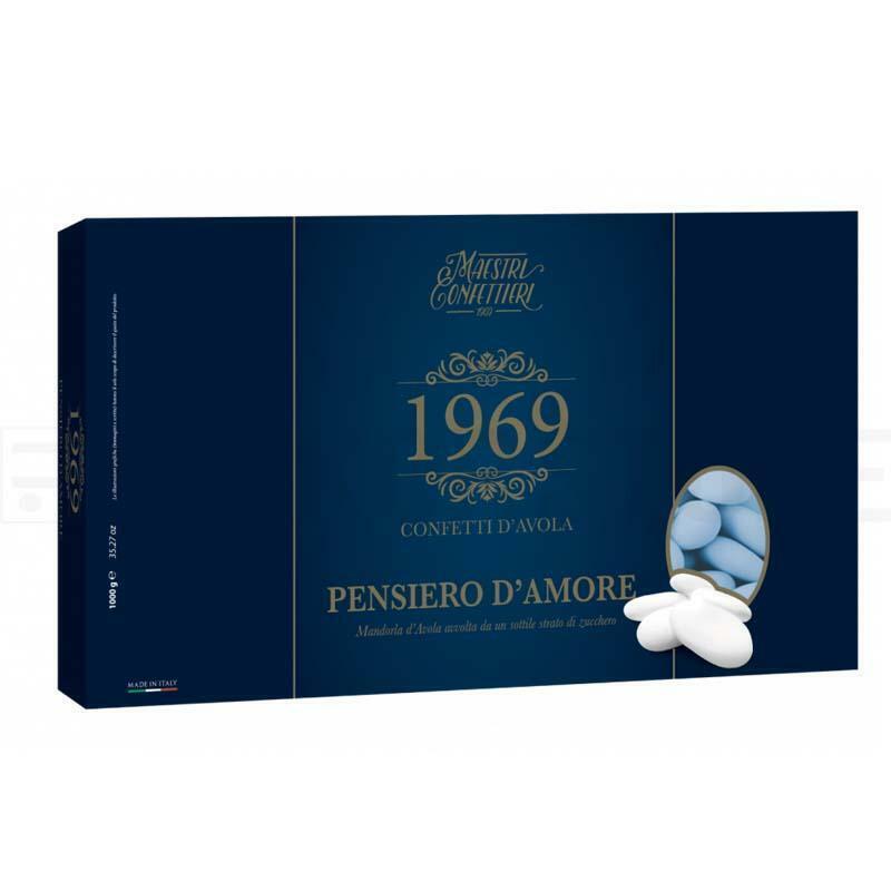 maxtris confetti maxtris mandorla avola pensiero d'amore - 1 kg azzurro calibro 38