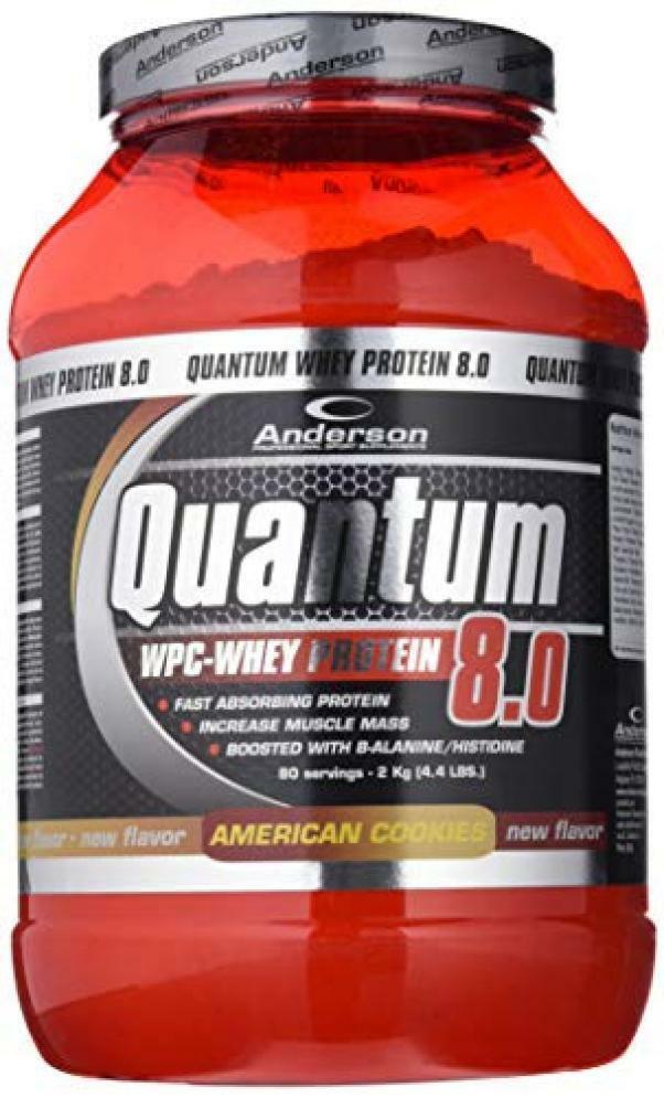 anderson research quantum 8.0 - integratore di  proteine del siero del latte concentrate gusto biscotti americani - 800g