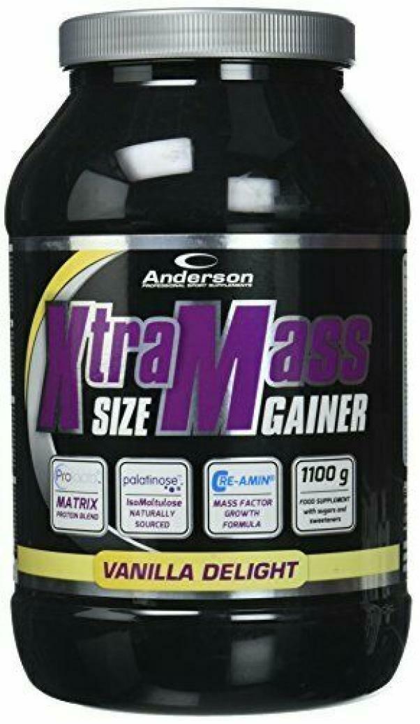 anderson research xtramass size gainer - integratore  proteico gusto delizia di vaniglia- 1,1kg