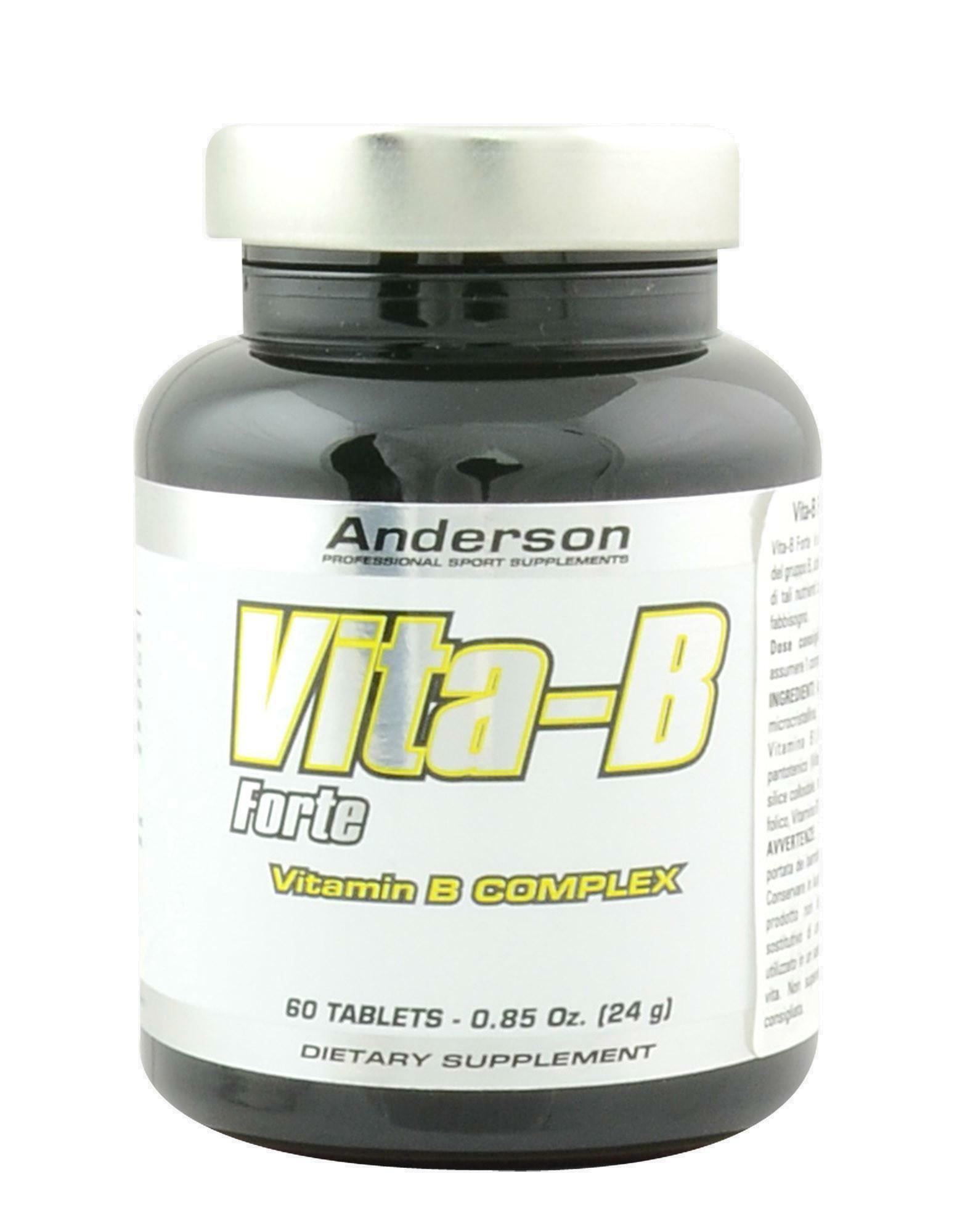 anderson research vita-b forte - integratore di vitamina b e acido folico - 60 capsule
