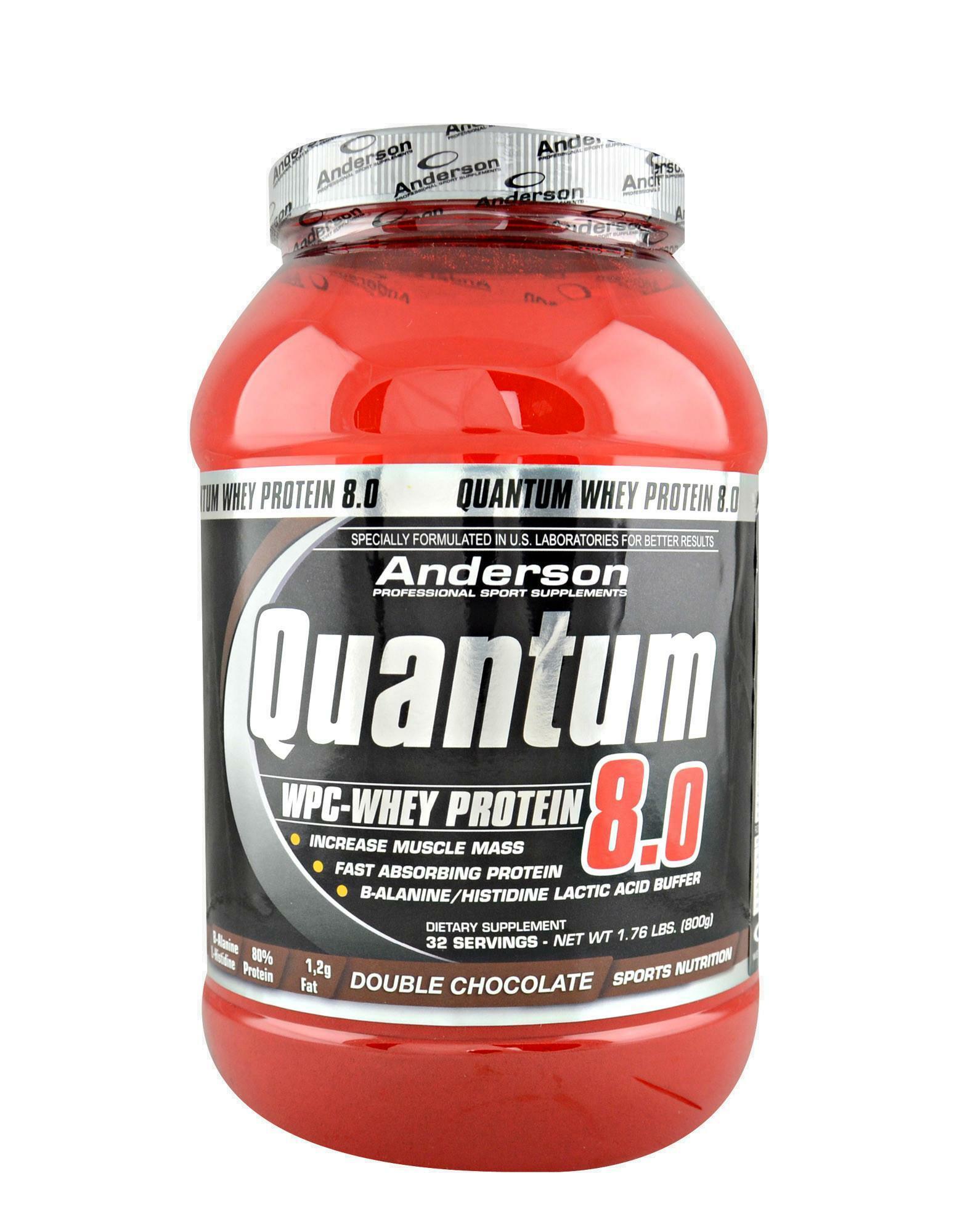 anderson research quantum 8.0 - integratore di  proteine del siero del latte concentrate gusto cioccolato fudge - 800g
