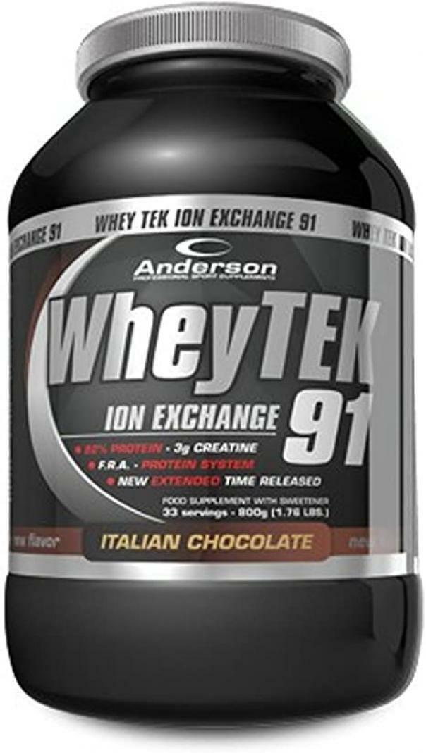 anderson research whey tek 91 -  integratore proteico con aminoacidi e creatina gusto cioccolato italiano - 800g