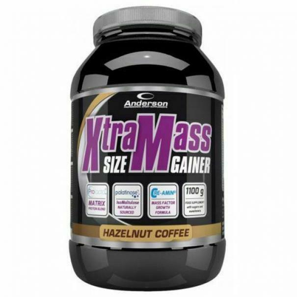anderson research xtramass size gainer - integratore  proteico gusto nocciola caffe' - 1,1kg