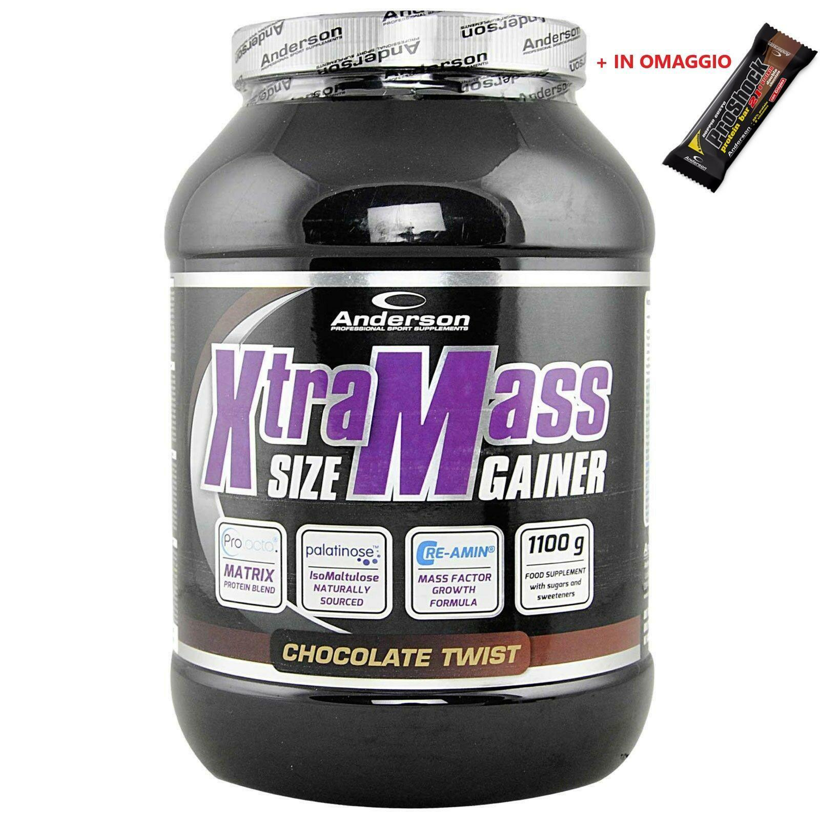 anderson research xtramass size gainer integratore  proteico gusto chocolate twist - 1,1 kg