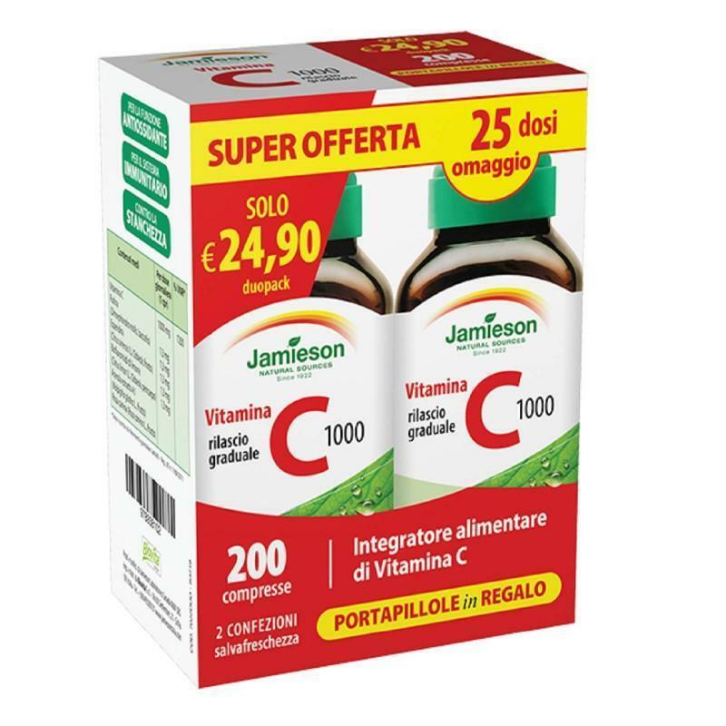 biovita group jamieson - vitamina c 1000 duo pack - integratore alimentare di vitamina c - promo duo pack 200 compresse