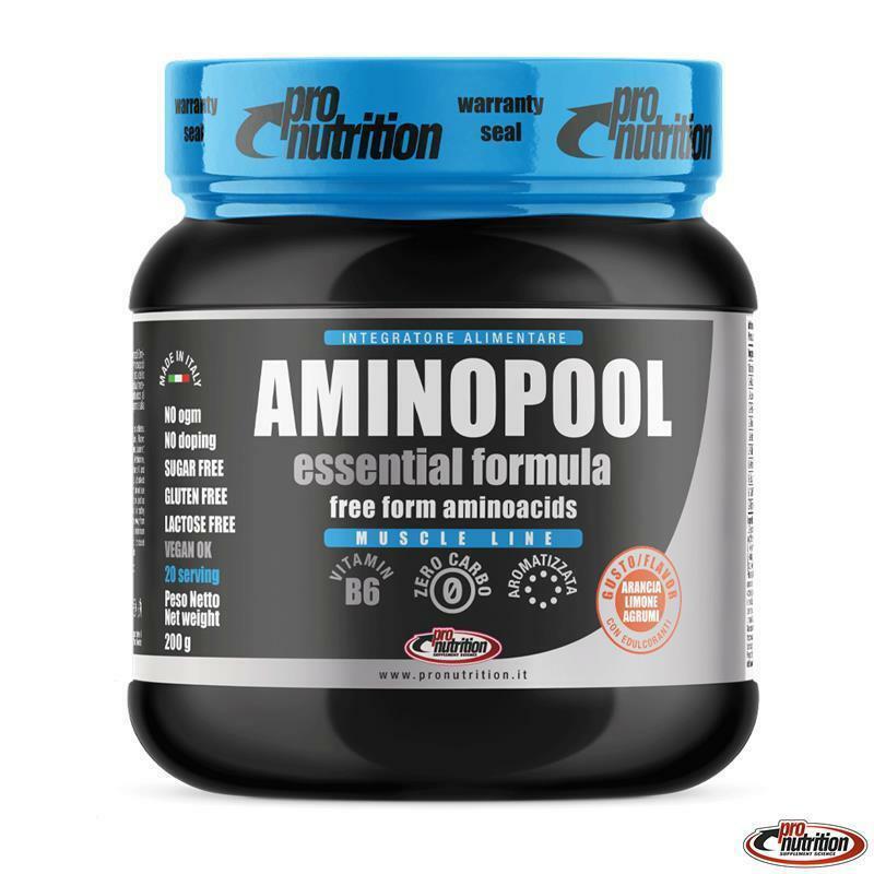 pro nutrition pro nutrition - amino pool essential - integratore di aminoacidi in polvere gusto agrumi - 200g