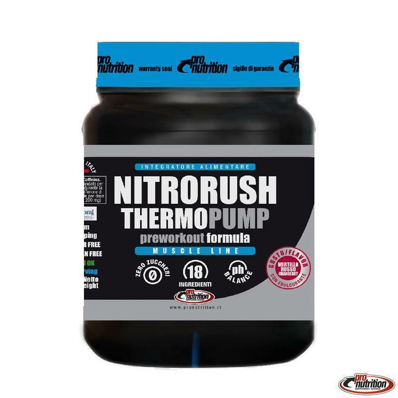 pro nutrition pro nutrition - nitrorush termopump -  integratore pre-workout termogenico in  polvere gusto mirtillo rosso - 450g