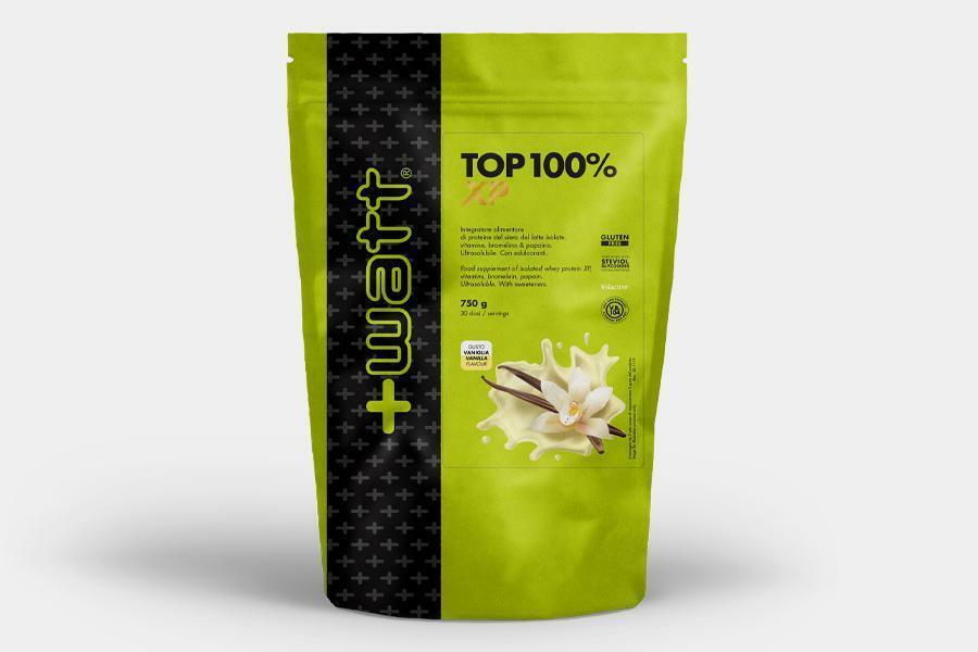 +watt nutrition +watt - top 100% xp - integratore di proteine del siero del latte isolate con vitamine bromelina e papaina gusto vaniglia - 750g