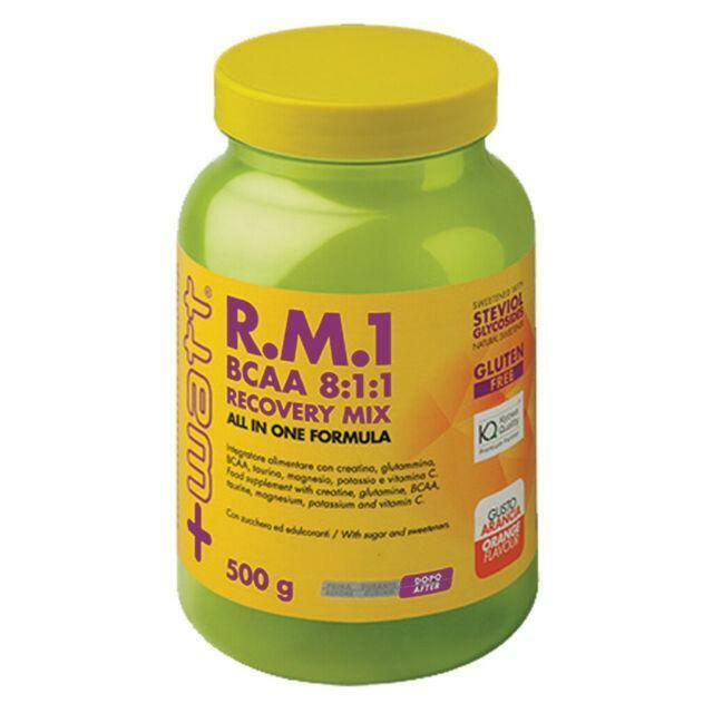 +watt nutrition +watt - r.m.1 bcaa 8:1:1 recovery mix - integratore di aminoacidi per il recupero muscolare gusto arancia - 500g