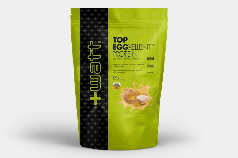 +watt nutrition +watt - top eggexellent protein - integratore di proteine dell'uovo isolate e vitamine gusto crema pasticcera - 750g