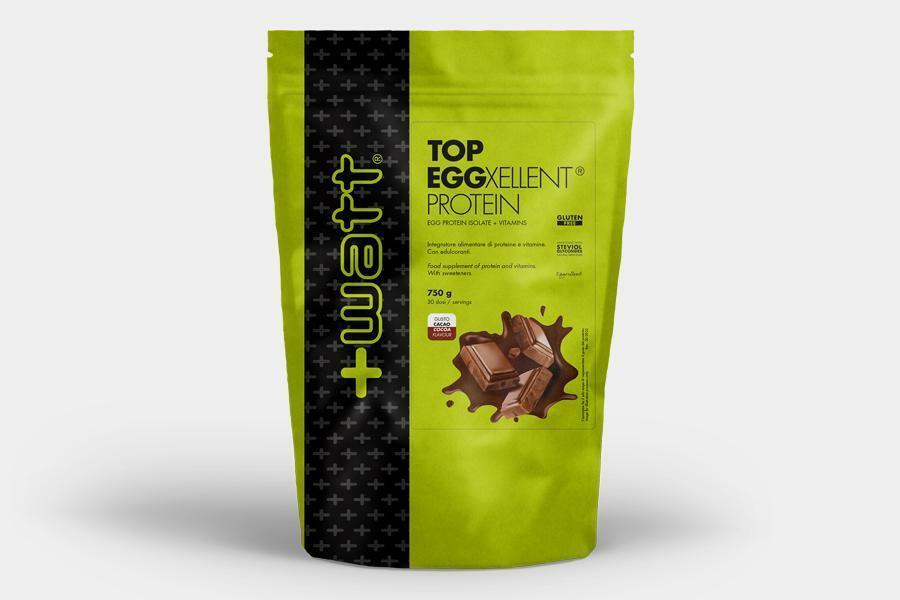 +watt nutrition +watt - top eggexellent protein - integratore di proteine dell'uovo isolate e vitamine gusto cacao - 750g