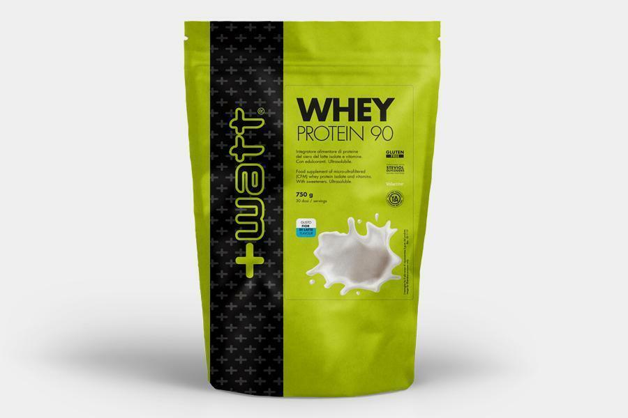 +watt nutrition +watt - whey protein 90 - integratore di proteine del siero del latte isolate e vitamine gusto cacao - 750g