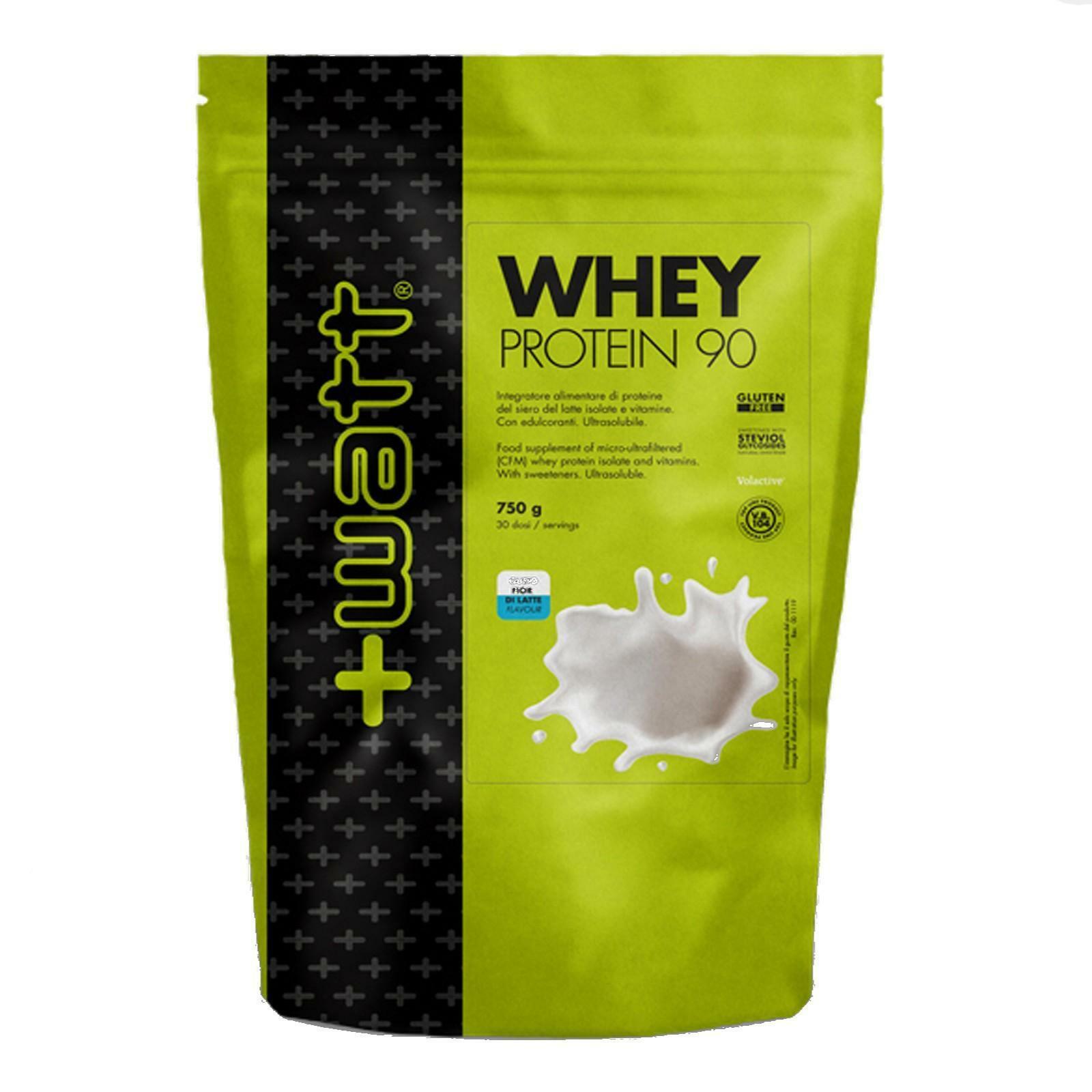 +watt nutrition +watt - whey protein 90 - integratore di proteine del siero del latte isolate e vitamine gusto fior di latte - 750g