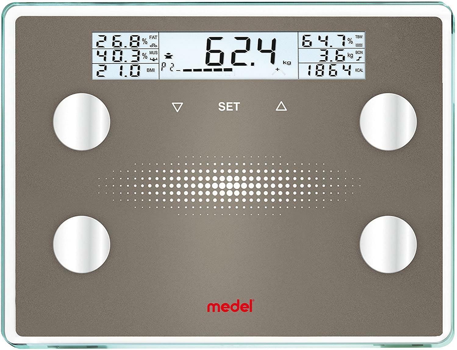 medel medel - bilancia professionale diagnostic xxl pesapersone in vetro + 1 termometro digitale in omaggio