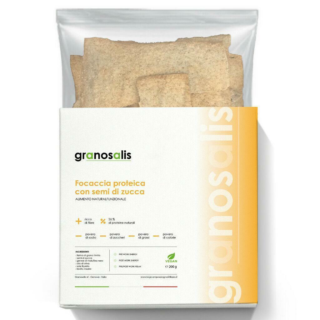 granosalis focaccia proteica con farina di semi di zucca - 200 g