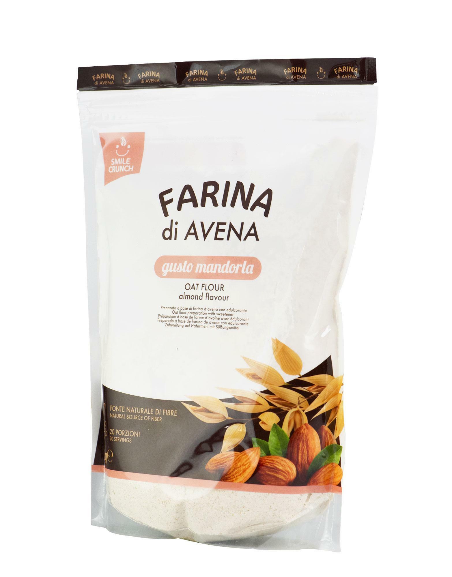 smile crunch oat flour - farina d'avena istantanea gusto mandorla - 1kg