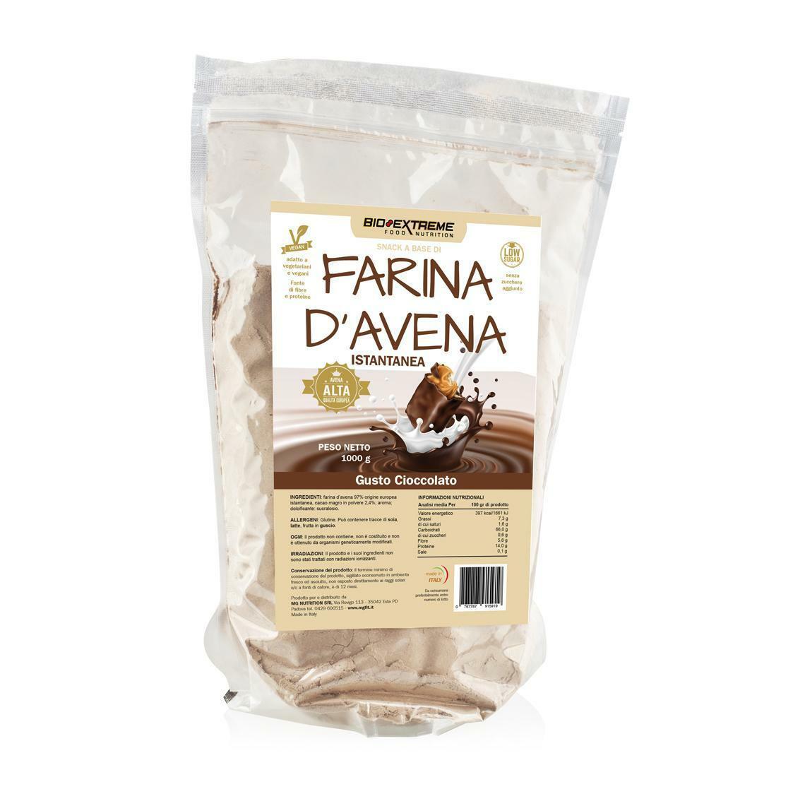 bio extreme oat flour - farina d'avena istantanea gusto cacao e nocciola - 1kg
