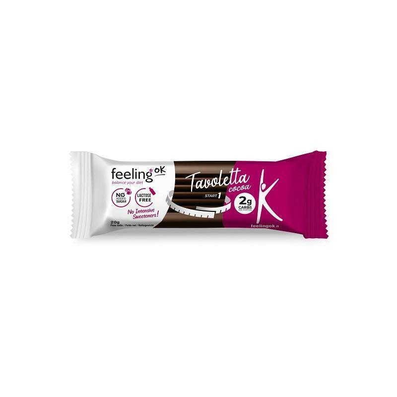 feeling ok start 1 - tavoletta di cioccolato 2g carbs - 20g