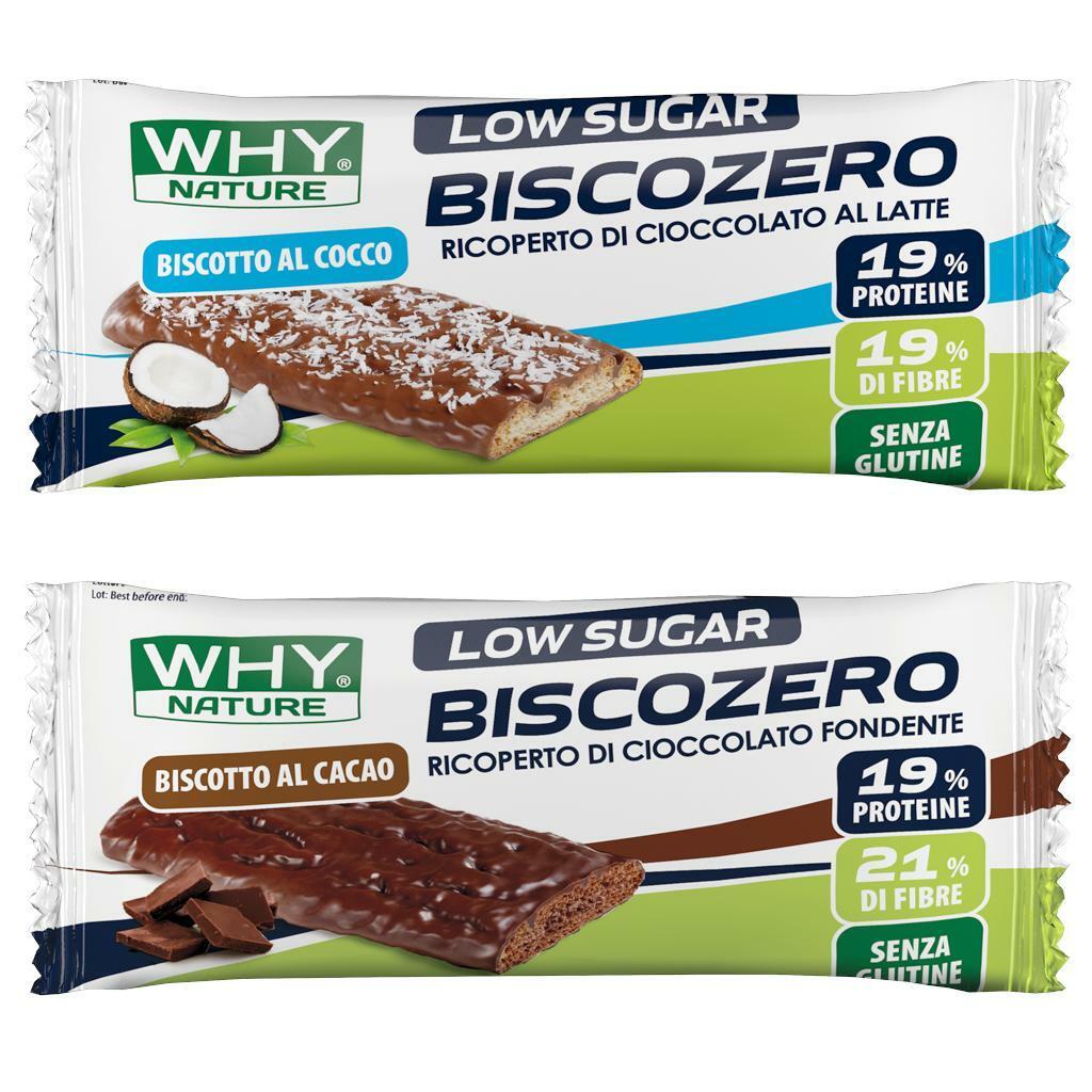 why nature biscozero biscotto al cocco ricoperto di cioccolato al latte 19% proteine - 25g