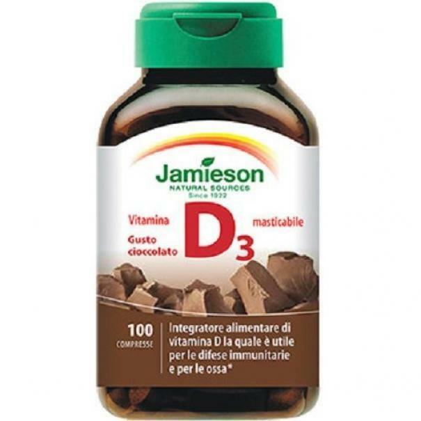 biovita group jamieson - vitamina d3 1000 ul - gusto cioccolato - 100 cpr compresse masticabili